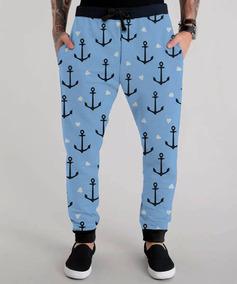 Calça Moletom Marinheiro Azul Âncora Anchor Pirata Chic Swag