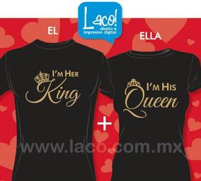 2 Playeras De Parejas Amor Amistad King Queen Negras Dorado