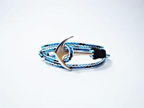 Pulseira Bracelete Masculina Três Voltas Com Âncora De Metal