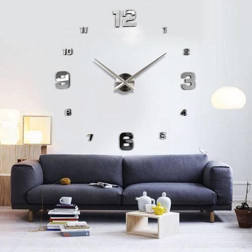 Relógio D Parede Grande 3d Sala Adesivo Decoração Tracinhos