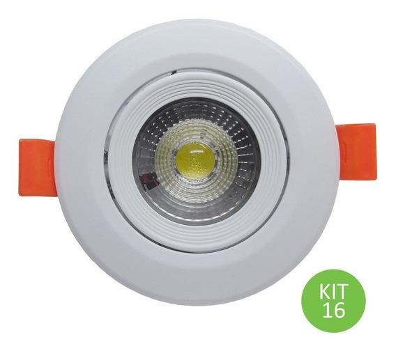 Spot Dicróica Led Direcional 3w Branco Frio Redondo Kit 16