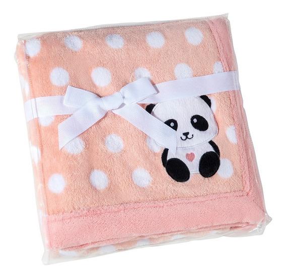 Manta Fleece Bebê Bordado 76 Cm X 102 Cm Lepper Panda Poá