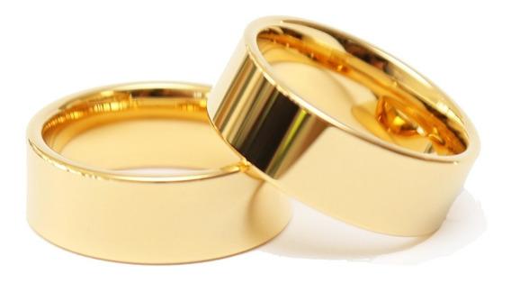 Par Alianças Reta Banhada Ouro 18k 8mm Tungstênio Casamento