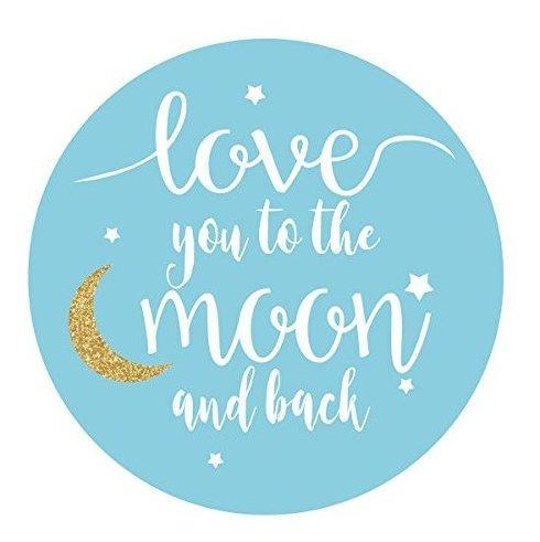 Azul Te Amo A La Luna Y Vuelta Pegatinas Niã±o Baby Shower