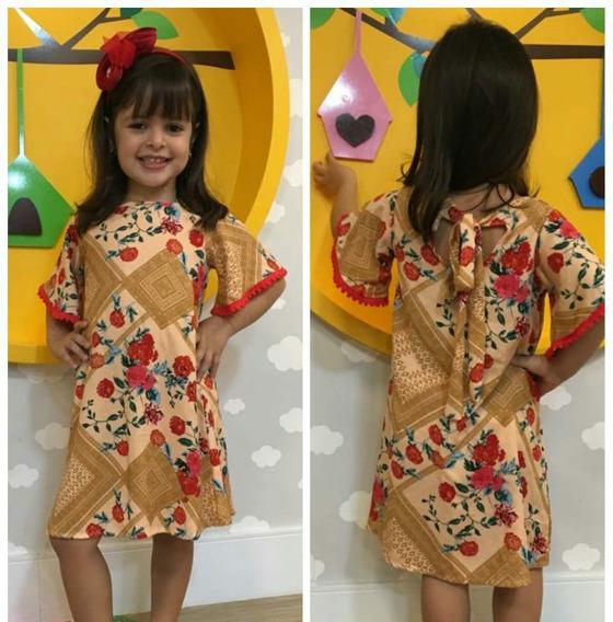 Vestido Infantil Modinha Soltinho Estampado Viscose