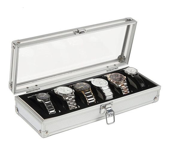 Caja Estuche Exhibidor Para 6 Relojes Joyas De Lujo Aluminio