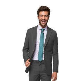 Terno Slim Masculino Oxford Cinza Italiano Paleto + Calça