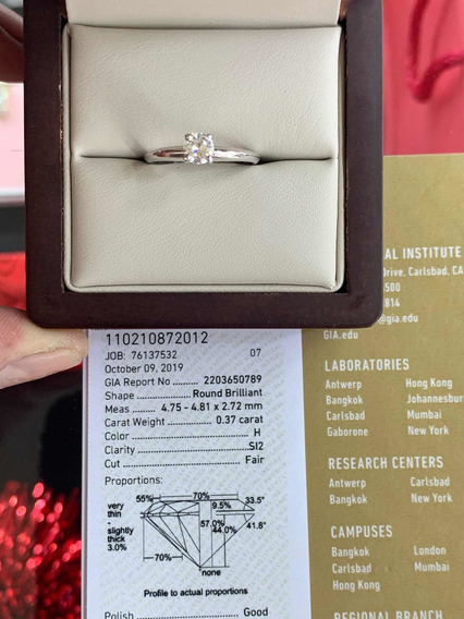 Anillo De Compromiso Diamante Certificado Gia .37ct H Si2