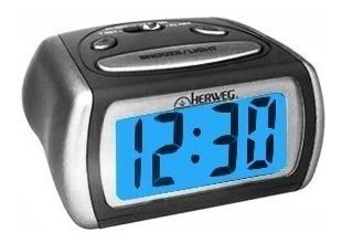 Despertador Digital Pequeno Preto Prata Led Azul Herweg 2916