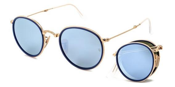 Ray Ban Round Rb 3517 001 30 Dourado T51 Óculos De Sol