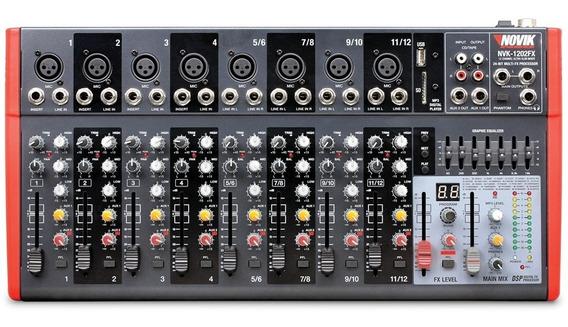 Mesa Mixer 12 Canais Novik Neo Nvk 1202 Bluetooth 220v