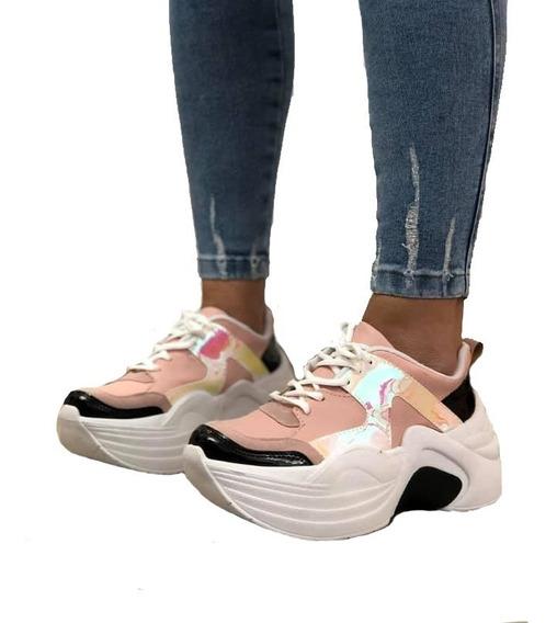 Zapatilla Mujer Con Plataforma Sneakers Eco Cuero 2020