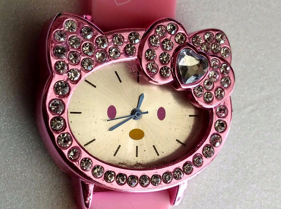 Reloj Original Hello Kitty Rosa Con Cristales