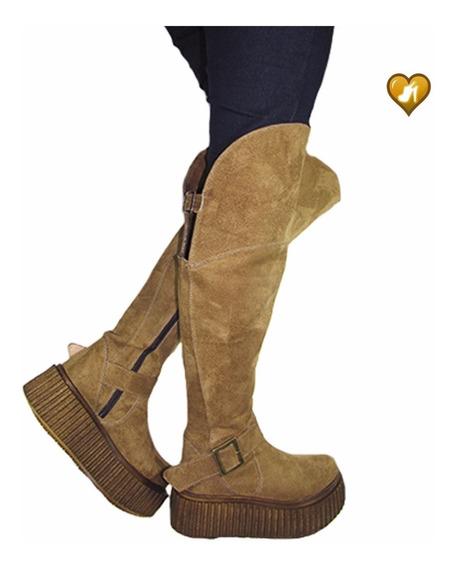 Bota Alta Bucanera Amplia Gamuzada Mod Lhian De Shoes Bayres