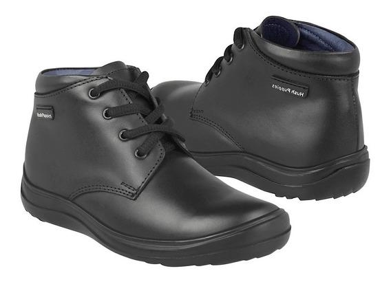 Zapato Escolar Hush Puppies Para Niño Simipiel Negro 60281