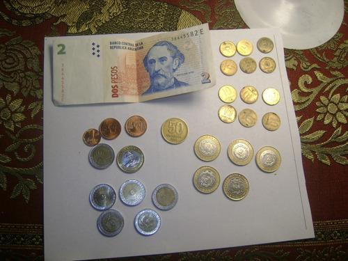 Lote 28 Monedas Argentina Mas  1 Billete 2 $ Lote Xiv'95