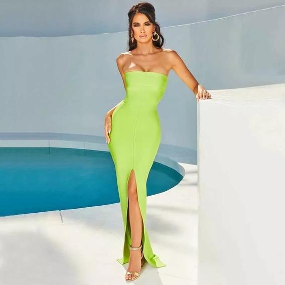 Vestido Mujer Largo Strapless Verde Herve Xs S M L