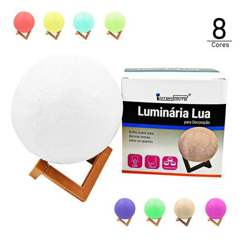 Luminária Lua Cheia Abajur 3d Touch 8 Cores Led 15cm