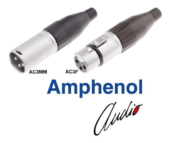 50 Conector Plug Xlr Amphenol Macho Ou Femea Ac3mm Ac3f