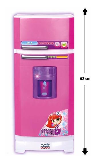 Geladeira Infantil Rosa P/ Cozinha Completa Sai Água