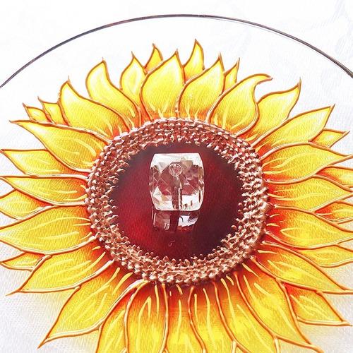 Incensário Redondo Em Vidro Flor Girassol
