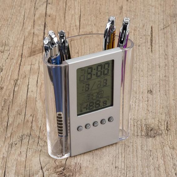 Kit 7 Un Porta-canetas Com Relógio Digital, E Temperatura