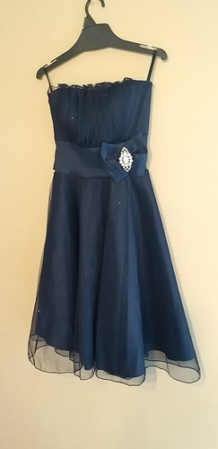 Vestido De Fiesta  Azul Marino.