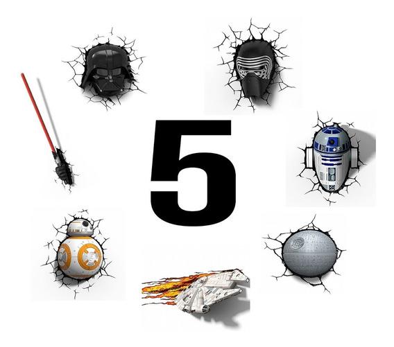 Kit 5 Luminárias Star Wars 3d - Darth, Kylo, Bb8 E Muito+