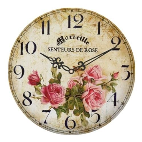 Imagen 1 de 2 de Reloj De Pared Vintage - Senteurs De Rose 30cm - R48