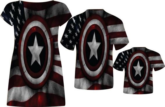 Blusa Pai, Vestido Mãe + Blusa Filho - Capitão América 3