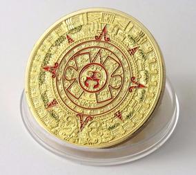 Moeda Banhada Dourada Calendário Maia Asteca