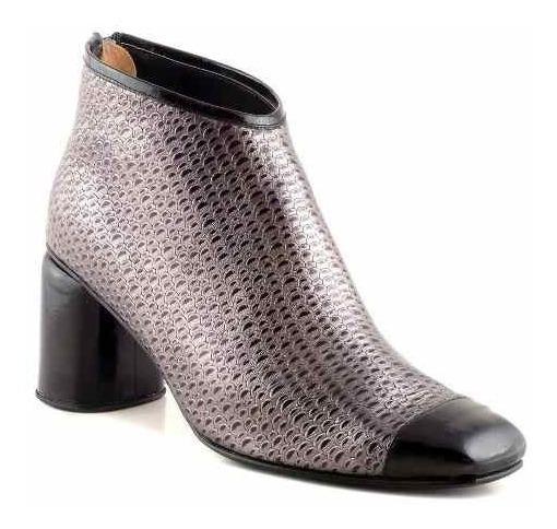 Botineta Mujer Cuero Taco Briganti Zapato Botita - Mcbo24895