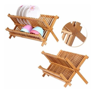 Rack Escurridor De Trastes De Madera De Bambu 2 Niveles