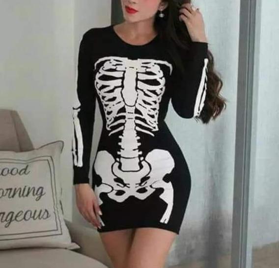Vestido Disfraz Esqueleto Dama Sexy