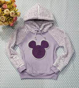 Casaco Blusa Feminina Moletom Lilás Pelinho Aplicação Mickey