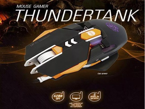 Mouse Gamer Dazz Thundertank 6200dpi Usb Preto, 624647