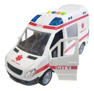 Ambulância Brinquedo Resgate Sirene Van Abre Porta Luz Som