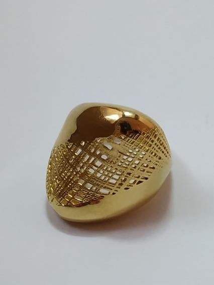 Anel Design Italiano Aro 14 Banho Dourado