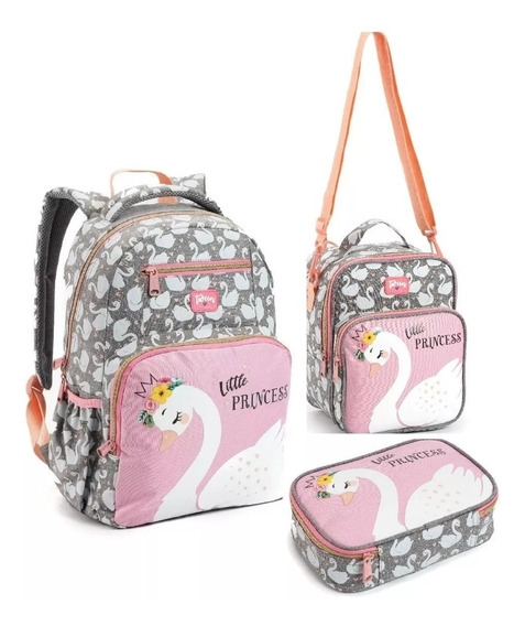 Kit Mochila Costas Cisne Feminina Escolar Estampada Seanite