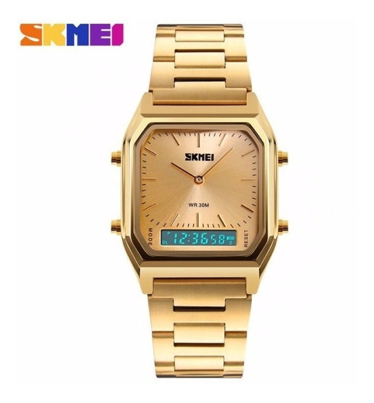 Relógio Masculino Skmei 3atm Anadigi Aço Inox 1220 - Dourado