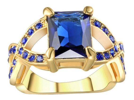 Anel Feminino Vazado Cristal Safira Azul Dia Mulher Mãe Presente Aniversário Oferta Modelo Criação Moda Verão 981
