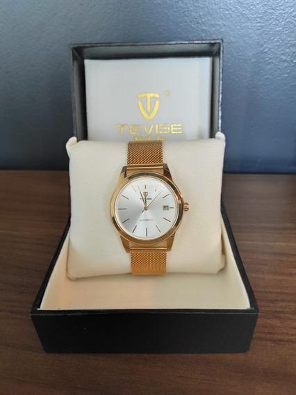 Relógio Tevise Masculino De Luxo Automático Dourado