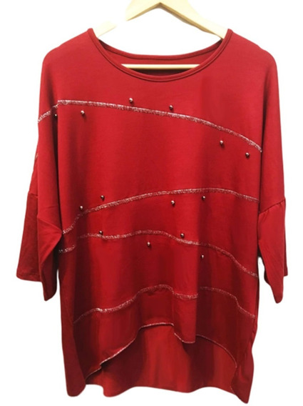 Remera Viscosa Con Bordado De Lurex Y Perlas T.u