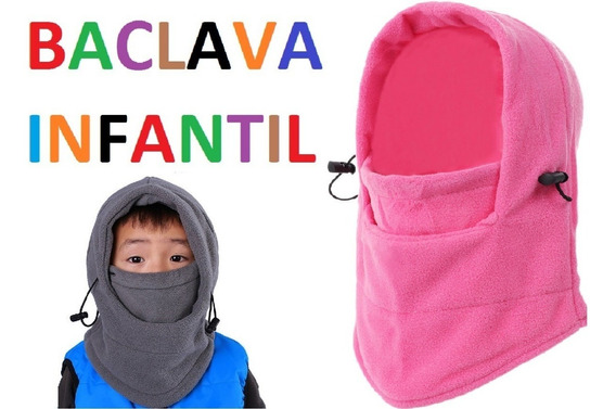 Balaclava Infantil Rosa Touca Gorro Fleece Lã Capuz Agasalh