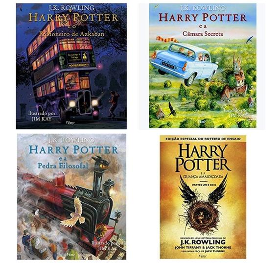 Kit Livros Harry Potter Ilustrados 3 Livros + Livro 8 - Novo