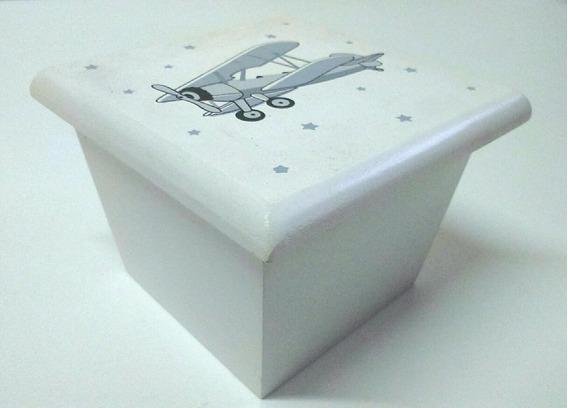Caja De Madera Con Tapa Dibujo Avión 9x9x6.5cm Tapa 10.5