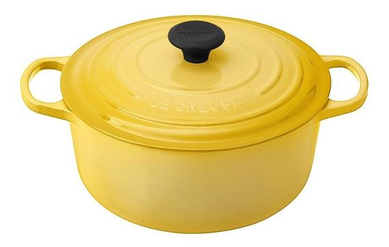 Panela Redonda Com Pegador Aço Inox 22 Cm Amarelo Soleil Le