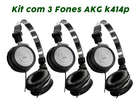 Kit 3 Fones Ouvido Profissional Compacto K414p Akg Original