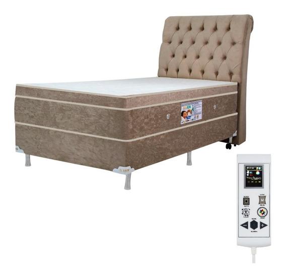 Colchão Magnético Solteiro 0,88x1,88 Massageador Cromoterapia Energia Bio Quantica Infra Vermelho Anti Germes + Cama Box