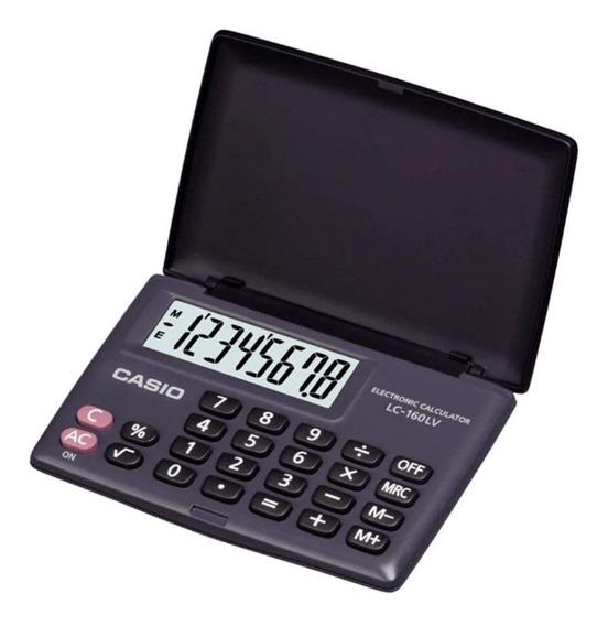 Calculadora De Bolso Casio Lc-160lv Preta C/ Tampa 8 Dígitos